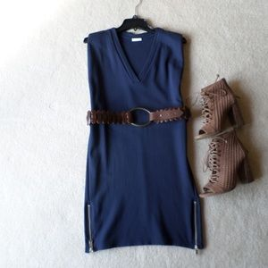 2NDDAY NAVY BLUE ZIPPER DETAILING SHEATH DRESS